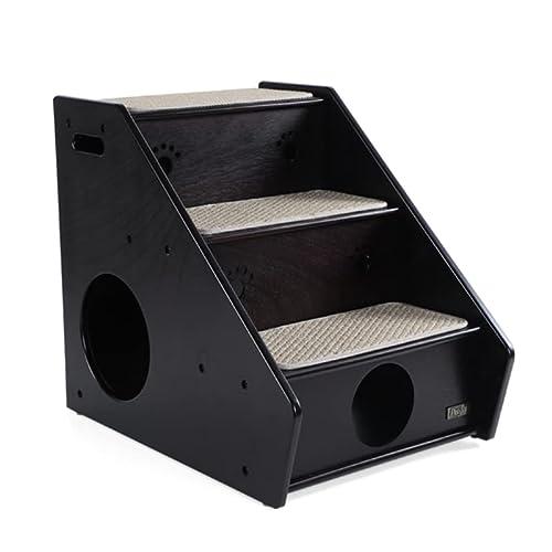 Petsfit Hölzerne Haustier Treppe, 3 Schritte Hundetreppe, Sisal Schritt, 43cm x 60cm x 52cm, Dunkler Kaffee - 7