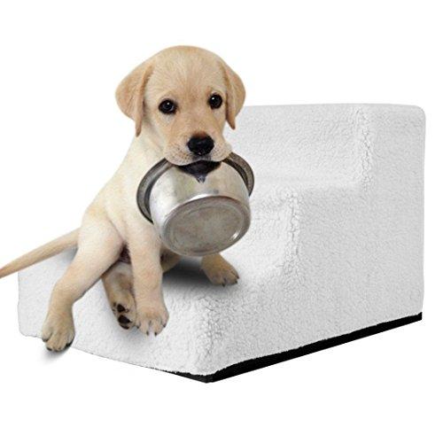 Femor Hundetreppe Haustiertreppe waschbarer Plüschbezug Hunde Katze Aufstiegshilfe Easy Step Hundetreppe 46X35X30 cm Weiß/Beige (Weiß)