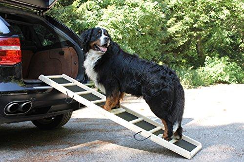 """Easy-Hopper Hunderampe / Hundetreppe / Einstiegshilfe """"Standard Natur"""" mit Feinriefengummimatte"""