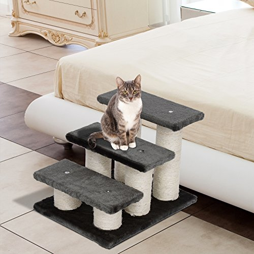 PawHut® Tiertreppe Katzentreppe Hundetreppe Treppe für Katze und Hunde 3 Stufen Neu - 7