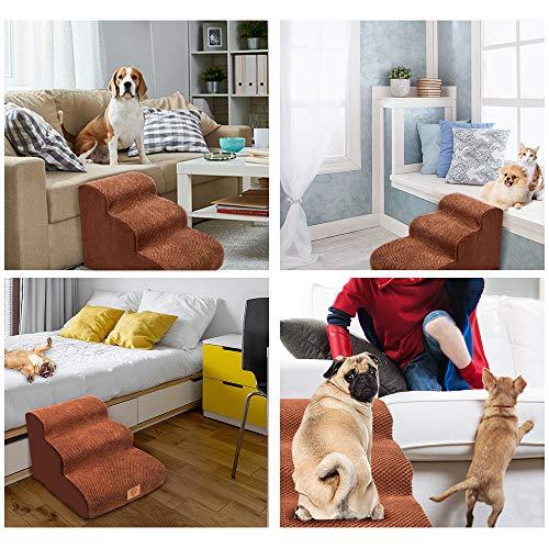 MASTERTOP Haustiertreppe für Hunde und Katzen mit, 3 Stufen Hundetreppe für Hunde und Katzen für hohe Betten, Leiter Haustierleiter, tragbar, abnehmbar, waschbar mit 1 Spielzeugknoten - 6