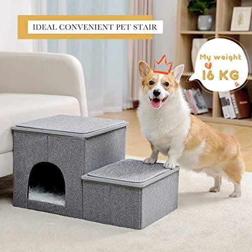 Amazon Brand – Umi Faltbare Haustiertreppe 2 Stufen für Hunde Katzen Multifunktionale Hundetreppe für Bett oder Auto mit Zwinger & Aufbewahrungsbox Nützliche 2 Stufen Stufenrampe für Hunde Grau - 2