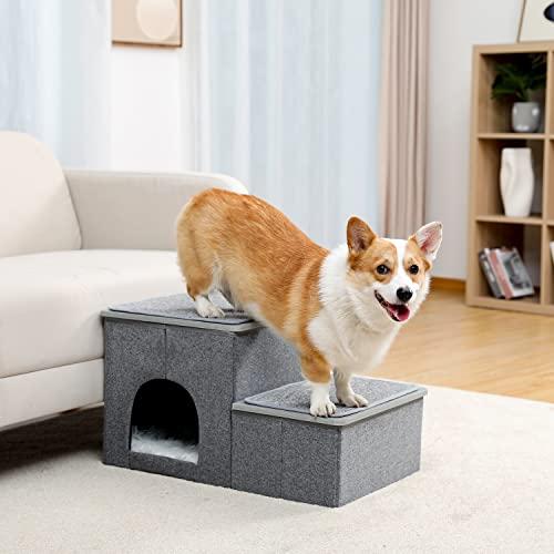 Amazon Brand – Umi Faltbare Haustiertreppe 2 Stufen für Hunde Katzen Multifunktionale Hundetreppe für Bett oder Auto mit Zwinger & Aufbewahrungsbox Nützliche 2 Stufen Stufenrampe für Hunde Grau - 3