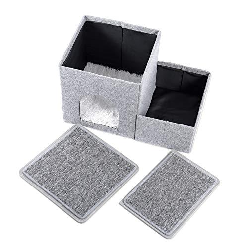 Amazon Brand – Umi Faltbare Haustiertreppe 2 Stufen für Hunde Katzen Multifunktionale Hundetreppe für Bett oder Auto mit Zwinger & Aufbewahrungsbox Nützliche 2 Stufen Stufenrampe für Hunde Grau - 7