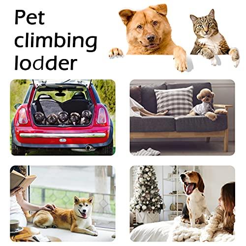 NATUREACT 3 Stufen Haustiertreppe, Hundetreppe Bett für kleine Hunde 40cm Hoch, Katzen Hunderampe Sofa Boxspringbett, mit Plüschbezug, Abnehmbar, Waschbar - 3