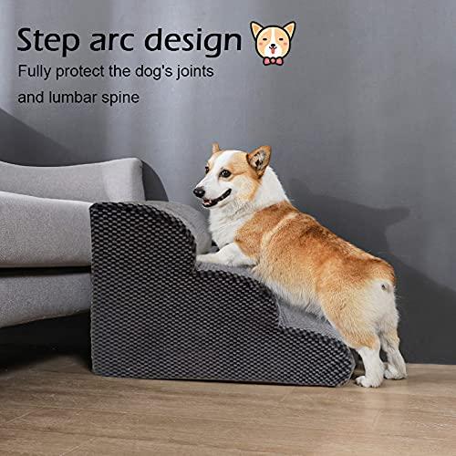 NATUREACT 3 Stufen Haustiertreppe, Hundetreppe Bett für kleine Hunde 40cm Hoch, Katzen Hunderampe Sofa Boxspringbett, mit Plüschbezug, Abnehmbar, Waschbar - 6