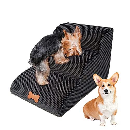 NATUREACT 3 Stufen Haustiertreppe, Hundetreppe Bett für kleine Hunde 40cm Hoch, Katzen Hunderampe Sofa Boxspringbett, mit Plüschbezug, Abnehmbar, Waschbar - 8