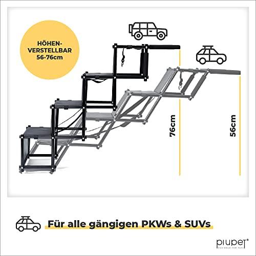 PiuPet® Universal Hundetreppe für große und kleine Hunde - bis 80 kg belastbar - für alle Fahrzeuge nutzbar - klappbare Hunderampe - 3