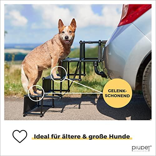 PiuPet® Universal Hundetreppe für große und kleine Hunde - bis 80 kg belastbar - für alle Fahrzeuge nutzbar - klappbare Hunderampe - 6