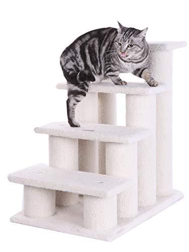 ARMARKAT Katzentreppe / Tiertreppe / Hundetreppe bis 77 cm hoch mit Kratzstämmen (C)