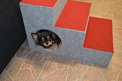 Ruhti 012 Hundetreppe Treppe für Hunde mit Höhle und Liegekissen 60 x 40 x 40cm - 6