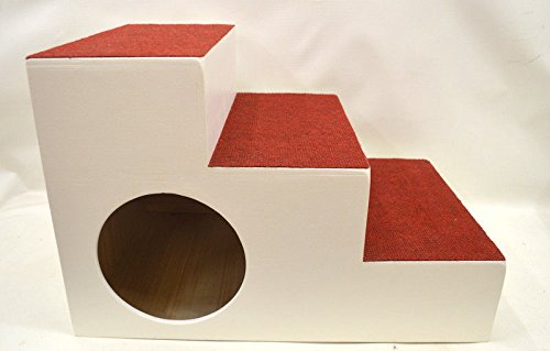 Ruhti 023 Hundetreppe weiß Treppe für Hunde mit Höhle und Liegekissen 60 x 40 x 40cm
