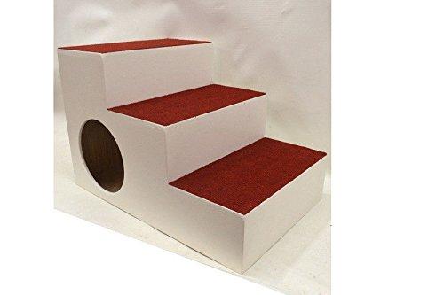 Ruhti 023 Hundetreppe weiß Treppe für Hunde mit Höhle und Liegekissen 60 x 40 x 40cm - 2