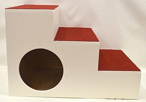 Ruhti 023 Hundetreppe weiß Treppe für Hunde mit Höhle und Liegekissen 60 x 40 x 40cm - 4