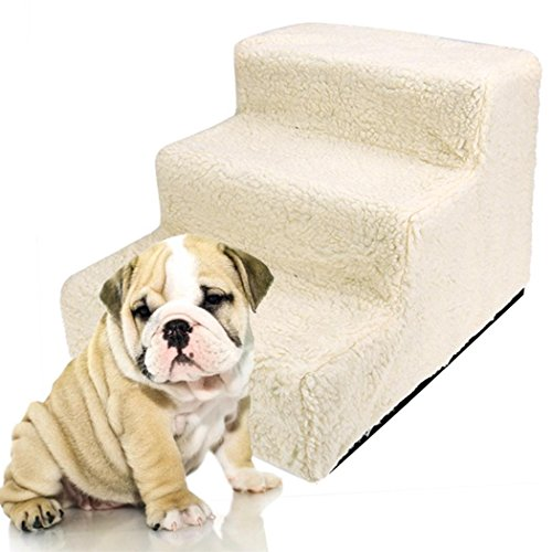 Haustiertreppe mit 3 Stufen, cooshional Hundetreppe Katzetreppe für Sofa, Easy Step Einstiegshilfe Plüschbezug 45 x 35 x 30cm, Beige