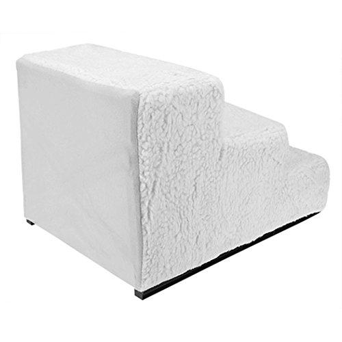 Haustiertreppe mit 3 Stufen, cooshional Hundetreppe Katzetreppe für Sofa, Easy Step Einstiegshilfe Plüschbezug 45 x 35 x 30cm, Beige - 2