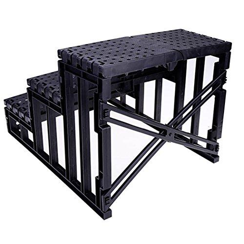 Haustiertreppe mit 3 Stufen, cooshional Hundetreppe Katzetreppe für Sofa, Easy Step Einstiegshilfe Plüschbezug 45 x 35 x 30cm, Beige - 3