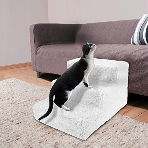 Sailnovo Hundetreppe Katzentreppe Haustiertreppe mit 3 Stufen Weiß, waschbareren Bezug - ideale Rampe für ältere oder kleinere Hunde Katze - 3