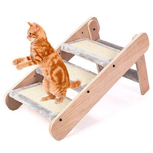 PEDY Tiertreppe Katzentreppe EASY STEP Haustiertreppe Pet Walk Tierrampe Treppe für Katze Einstiegshilfe Sisal-Plattenoberfläche (3 Stufe) - 3
