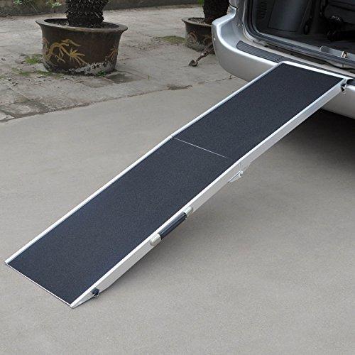 Hunderampe Tierrampe 1fach faltbar Aluminium rutschfeste Oberfläche 244 x 38cm 110kg - 6