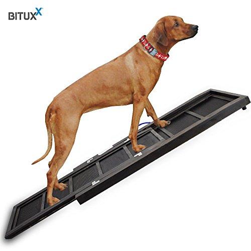 BITUXX® Hunderampe Einstiegshilfe Autorampe Hundetreppe Hundetransport Teleskop Ausziehbar aus Holz - 2