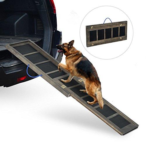 PawHut® Hunderampe Haustierrampe Einstiegshilfe Hundetreppe 165cm Klappbar Tannenholz - 2