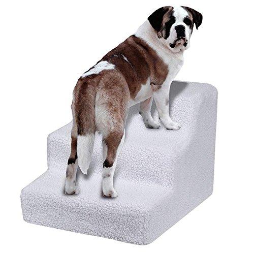 Yaheetech Hundetreppe Katzentreppe Haustiertreppe mit 3 Stufen, 45 x 35 x 30 cm, Einstiegshilfe für kleinere Hunde Katze, weiß - 8