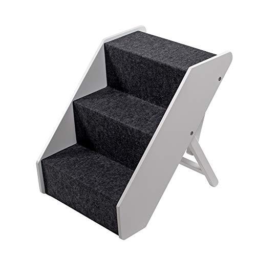 UPP Hundetreppe Premium   Massiv aus FSC Holz und höhenverstellbar  3-stufige Treppe für Hunde bis 70 kg   Klappbare Hunderampe für Auto und Innenbereich [Weiß] - 2