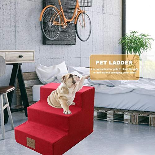 Hundetreppe Katzentreppe Haustiertreppe Mit 3/4 Stufen, Einstiegshilfe Für Kleinere Hunde Katze,Grau,rot Grün,Blau - 6