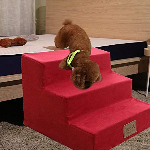 Hundetreppe Katzentreppe Haustiertreppe Mit 3/4 Stufen, Einstiegshilfe Für Kleinere Hunde Katze,Grau,rot Grün,Blau - 5