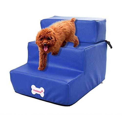 Smniao Hundetreppe Katzentreppe 3 Stufen Haustiertreppe Hund Treppen Waterproof PU Katze Haustier Rampe Hohe Betten Sofa (29.5x35.5x29cm, Blau)
