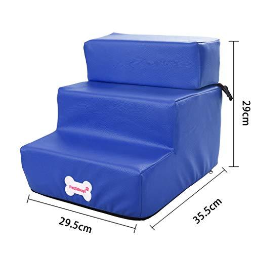 Smniao Hundetreppe Katzentreppe 3 Stufen Haustiertreppe Hund Treppen Waterproof PU Katze Haustier Rampe Hohe Betten Sofa (29.5×35.5x29cm, Blau) - 8