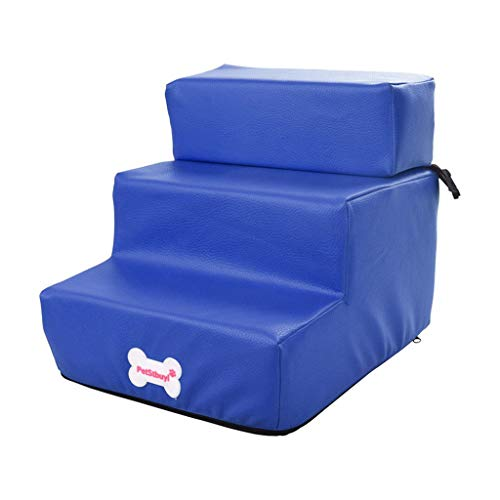 Smniao Hundetreppe Katzentreppe 3 Stufen Haustiertreppe Hund Treppen Waterproof PU Katze Haustier Rampe Hohe Betten Sofa (29.5×35.5x29cm, Blau) - 6
