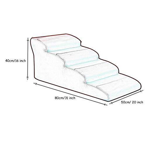 Hundetreppe katzentreppe Blaue Hundetreppe for Couch for Kind, Extra Breite Tragbare Hundeleiter for Schlafzimmer Wohnzimmer, Belastung 30kg (Size : 40cm/16 inch Height) - 2