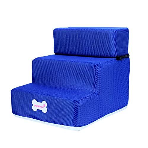 Surui Haustiertreppe Hundetreppe für Kleine Hunde Katzen Kleiner als 8 kg, Bezug Mesh, Blau L 3 Stufen