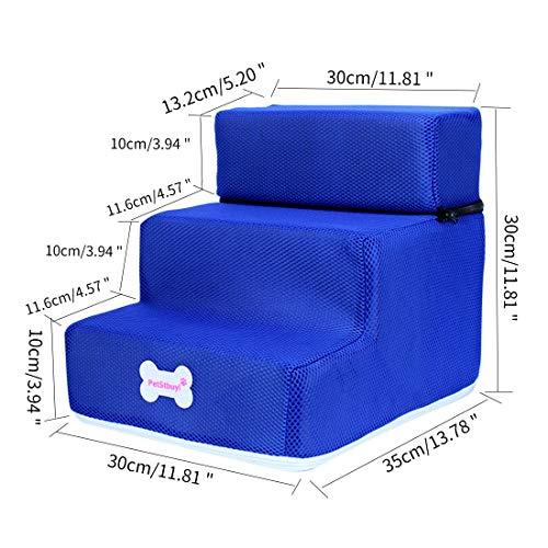 Surui Haustiertreppe Hundetreppe für Kleine Hunde Katzen Kleiner als 8 kg, Bezug Mesh, Blau L 3 Stufen - 2