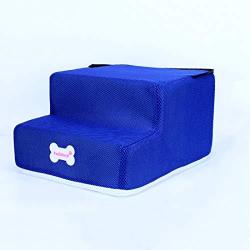 Surui Haustiertreppe Hundetreppe für Kleine Hunde Katzen Kleiner als 8 kg, Bezug Mesh, Blau L 3 Stufen - 3