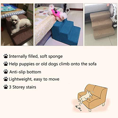 Surui Haustiertreppe Hundetreppe für Kleine Hunde Katzen Kleiner als 8 kg, Bezug Mesh, Blau L 3 Stufen - 4