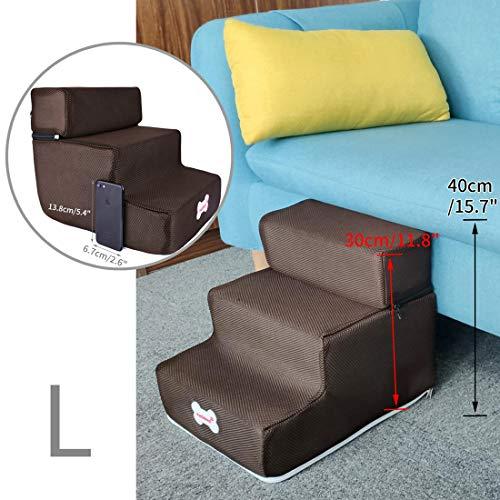 Surui Haustiertreppe Hundetreppe für Kleine Hunde Katzen Kleiner als 8 kg, Bezug Mesh, Blau L 3 Stufen - 5